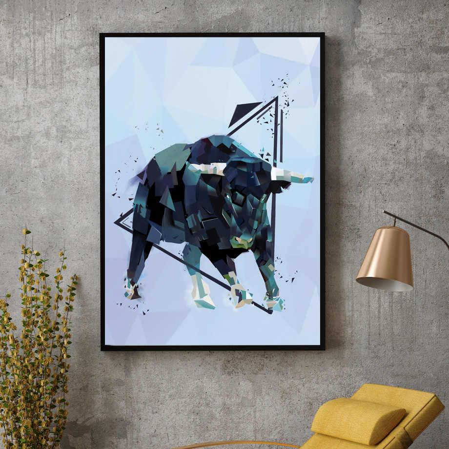 Геометрические слон лев волк Медведь Олень плакаты на скандинавскую тему и репродукции, настенное искусство холст живопись настенные картины для декора гостиной