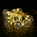 Battery Operated 1M Siver Moroccan Orb LED String Lights With 10 Leds Christmas Wedding Party Decorative Lights