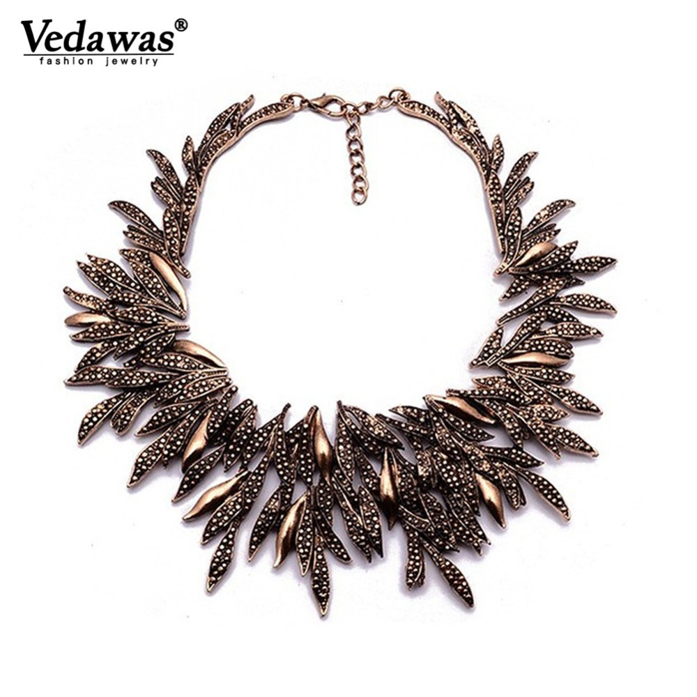 2015 New Design Summer Style Fine Jewelry Vintage Statement Necklace Chunky Leaf Alloy Choker Necklace Collier Femme XG742 silver diamante statement necklace