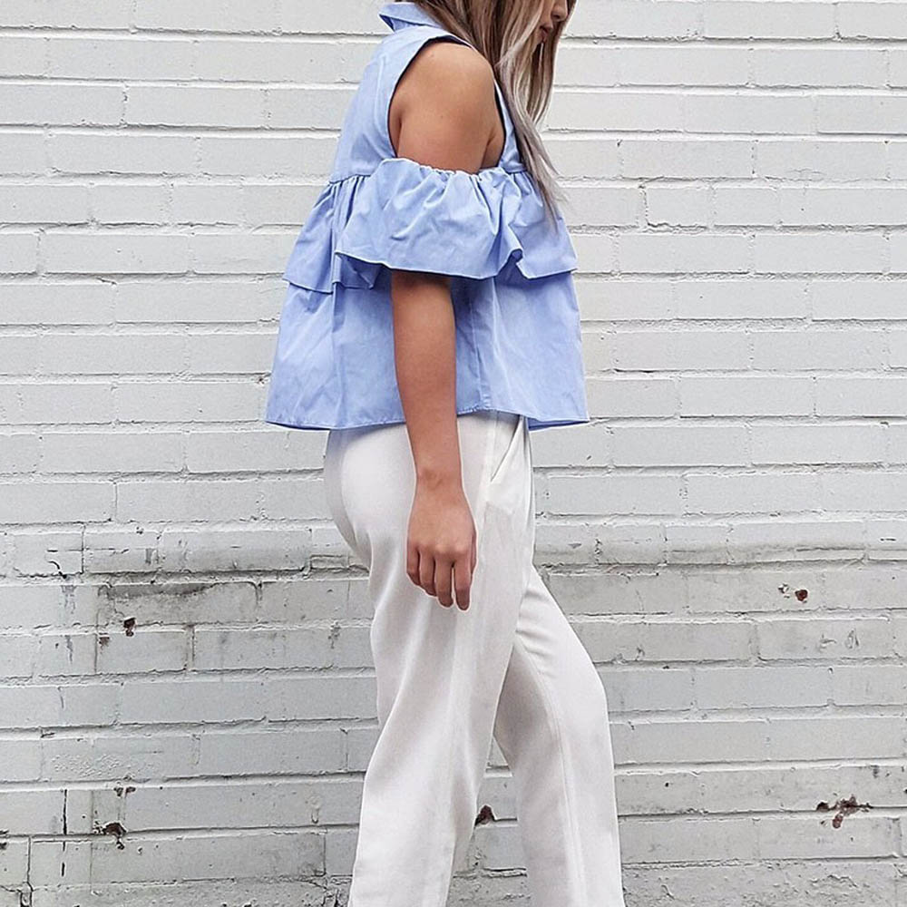 VESTLINDA Summer Women Off the Shoulder Ruffles Blouse Shirts Turn Down Collar Casual Sexy Tops Chemise Femme Work Office Blusas 11