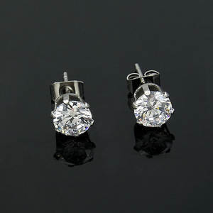 Earrings Fashion 316l-Stainless-Steel Jewelry Wholesale Bright-Zircon Punk Hip-Hop