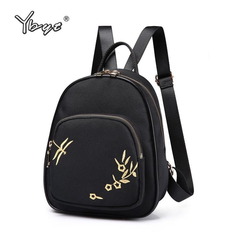 YBYT brand 2018 new women canvas rucksacks embroidery simple girls school bag ladies mini shopping packet female travel backpack retro wild embroidery female packet 2018