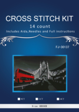5TH-Oneroom 69-50 Red Bus on Bridge Counted Cross Stitch sets 14CT Cross-Stitch Kit Handmade Embroidery Needlework