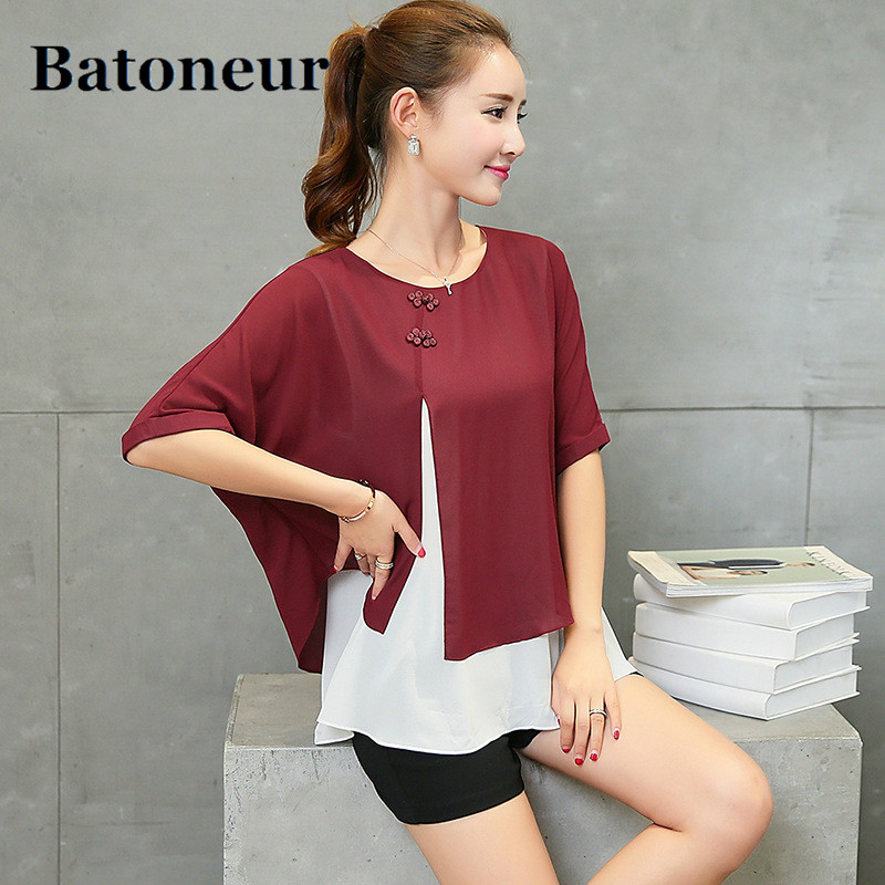 New Fashion 2018 Summer Loose Casual Women Chiffon Blouses Shirt Batwing Sleeve Two Layer Ladies Tops Buttons Blusas Clothing