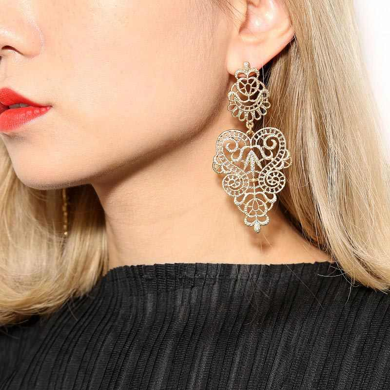 New Bohemia Vintage Hollow Leaves Drop Earrings Women's Jewelry Big Brand Exaggerated Female Dangle Brincos Bijoux Gift EB158