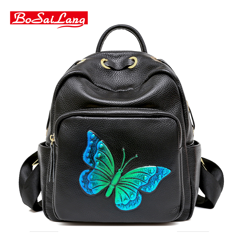 Women Genuine Leather Backpacks Brand Ladies Fashion Backpacks For Teenagers Girls School Bags Real Leather