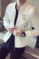 Men S Jacket Slim Collar Collar Jacket Personality Embroidery Young Men S Jacket 122
