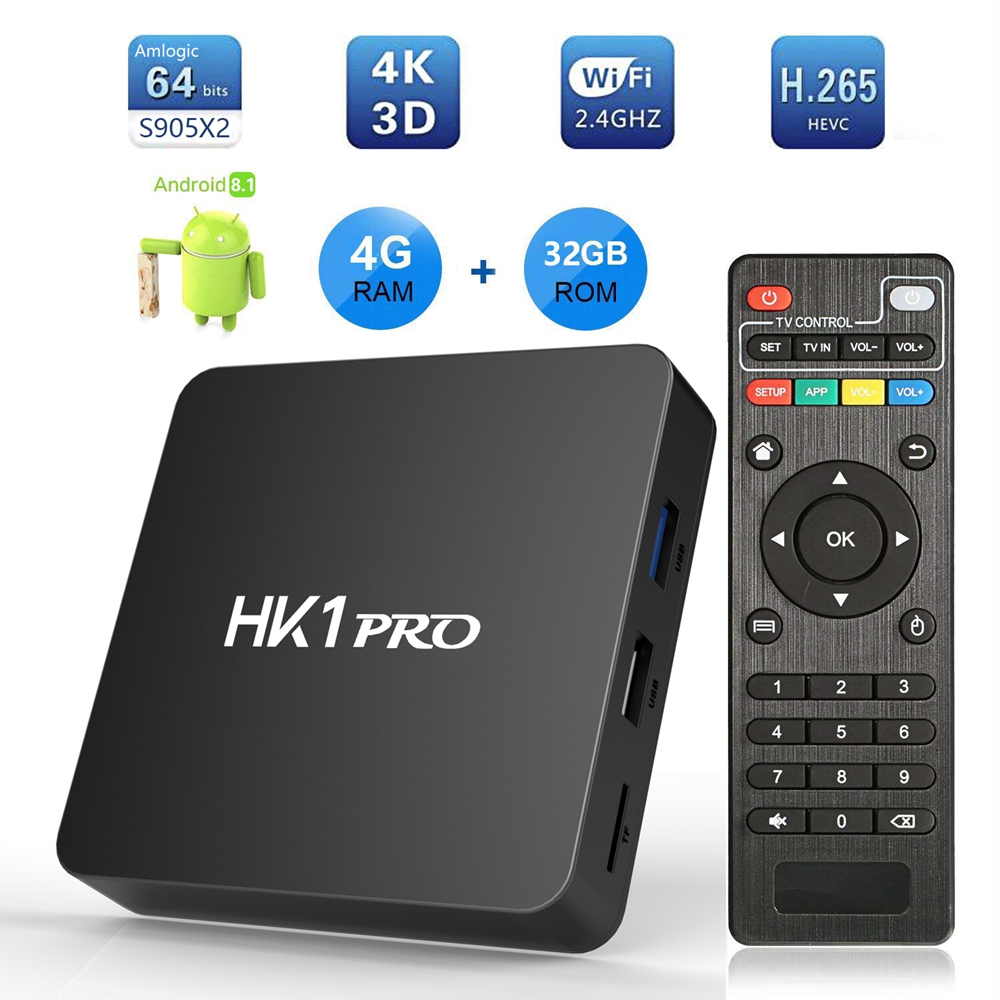 Android 8.1 HK1 Pro Smart TV Box Amlogic S905 X2 4 GB DDR4 64 GB Max 2.4G/5G double WiFi USB3.0 BT4.2 Support 4 K H.265 lecteur multimédia-in Décodeurs TV from Electronique    1