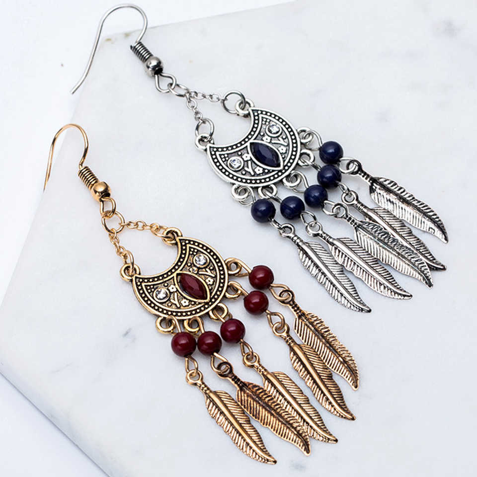 Ethnic metal alloy leaf leaves pendant long tassel earring jewelry Vintage boho acrylic water drop earrings for women brinco