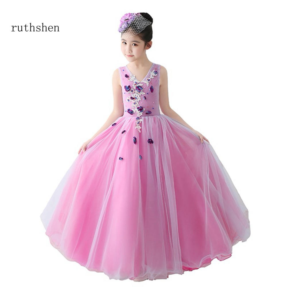 Ruthshen real photo new arrivals flower girl dresses sleeveless sexy ruthshen real photo new arrivals flower girl dresses sleeveless sexy v neck for girls wedding cheap appliques kids prom dresses izmirmasajfo