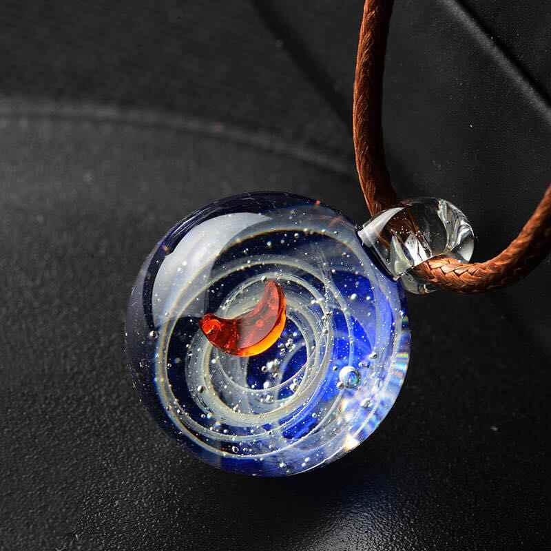 新到着手作りガラス星雲宇宙銀河ペンダントネックレス幸運男性女性のカップルジュエリーバレンタインデーのプレゼントギフト