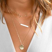 Bohemian Gold Color Chain Circle Long Bar Pendant Necklace Multilayer Choker Necklace for Women Collier Femme Fashion Jewelry(China)