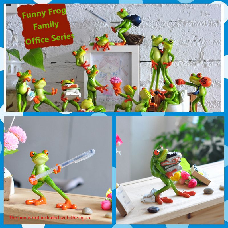 Free shipping Frog Figures Resin toy Office styles cake home office desk car decoration phone pen rack rest party supply gifts  the walking dead action figure zombie figures head resin crystal car ornament home desk decoration furnishing articles