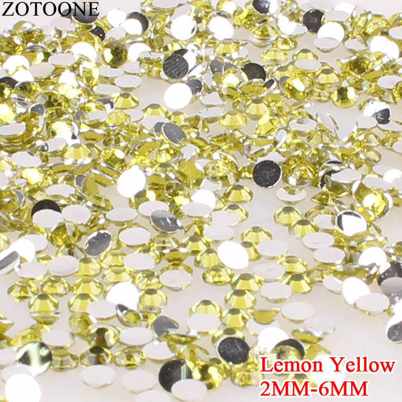 ZOTOONE Lemon Yellow Crystal 3D Nail Art Rhinestones Resin Rhinestone Flat Back Non Hotfix Strass Nails Glue On Strass Applique