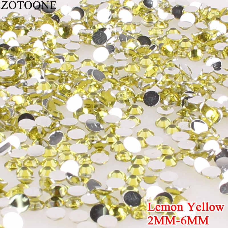 ZOTOONE cristal amarillo limón 3D Nail Art Rhinestones resina Rhinestone parte posterior plana no Hotfix uñas de strass pegamento en apliques strass