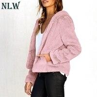 NLW Casual Winter Coats Women Faux Fur Solid Feminino Shaggy Coats Jackets Open Stitch Hoodies Coats Jacket