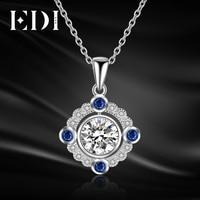 EDI Genuine Halo 1 2CT Round Cut Moissanite Diamond Natural Sapphire 14k 585 White Gold Pendant