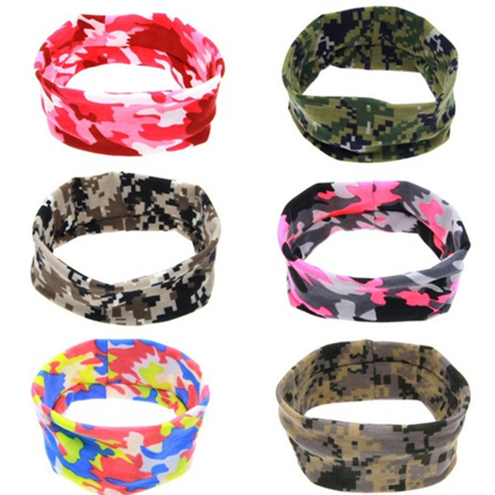 Unisex Headband Women Men Fashion Sweatband Elastic Camouflage Headwear Stretch Hair Band Turban Fitness Exercise Headdress