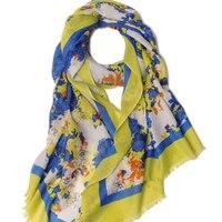 Шелк и кашемир шарф Для женщин зима печатных цвет желтый, синий; размеры 34–43 шарфы натуральный Ткань Шарфы для женщин Мягкий Теплый Высокое