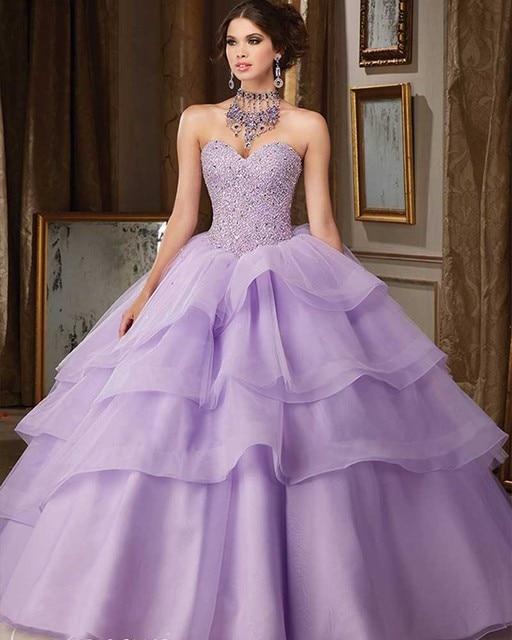 Joky Quaon Querida Lace Up Sparkly Frisado Lantejoulas Roxo Em Camadas de Organza vestido de Baile Quinceanera Vestido Da Menina 2017 Vestidos De 15