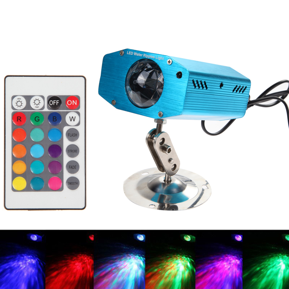 Remote RGB LED Water Wave Ripple Effect Disco Stage Light Lighting Adjustment DJ Party Home Wedding KTV Club Projector adjustment led rgb white lighting projector laser strobe stage light effect dj disco party club ktv night lamp bulb us eu plug