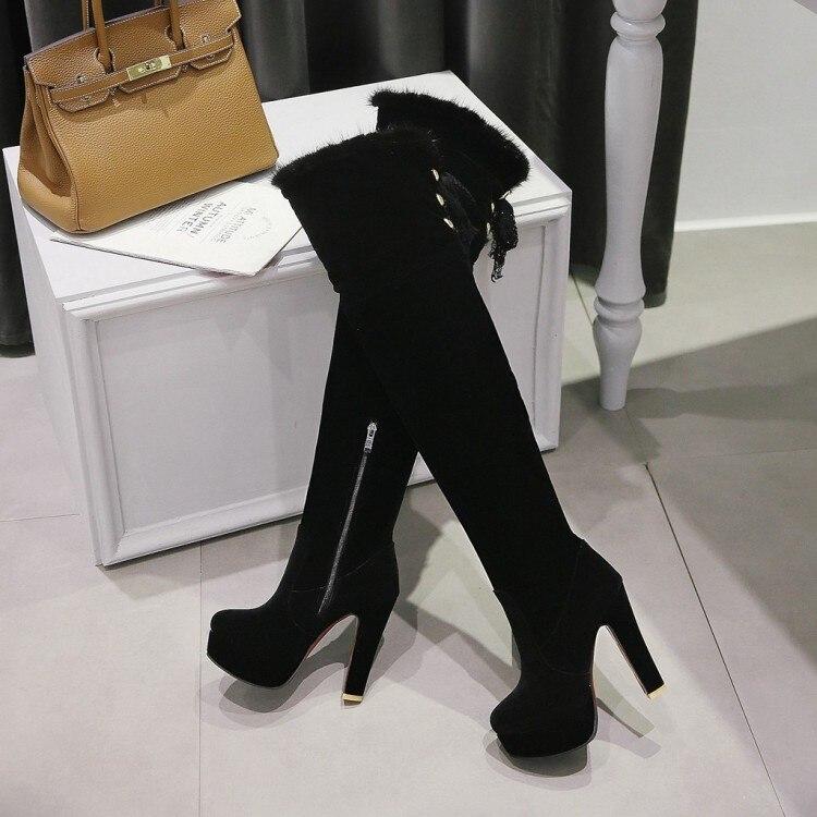 Rouge Femmes Chaussures Haut Zipper Équitation Bottes Plate Parti Furry forme E300 Carré Genou Talon U7SwUAqR