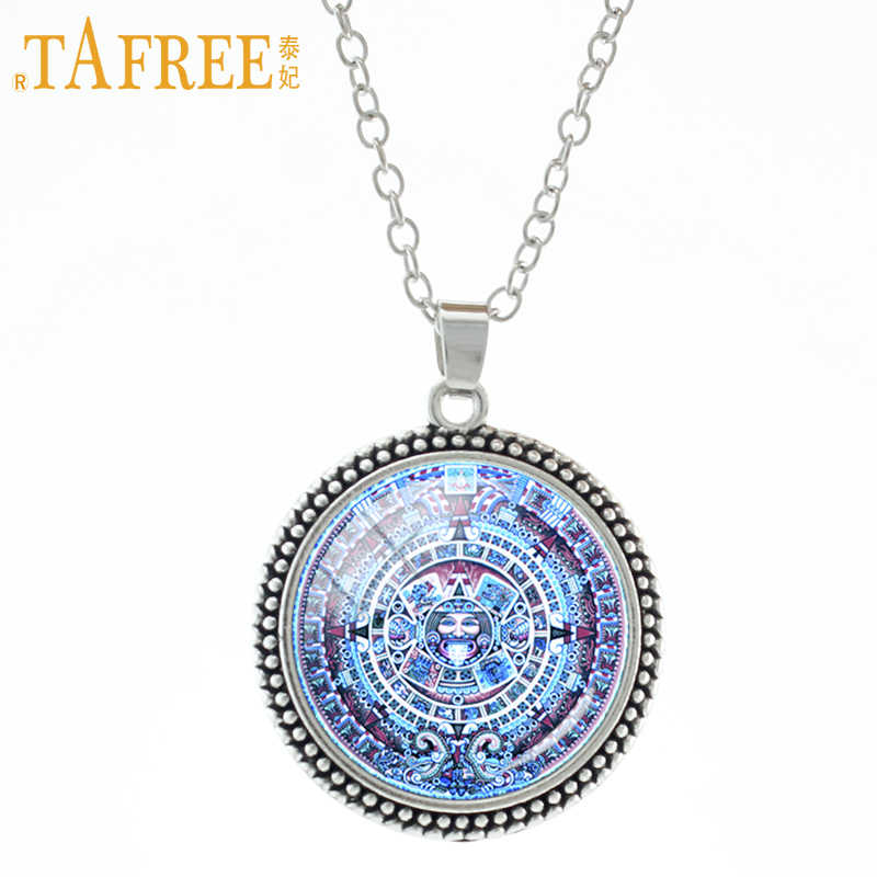 TAFREE Mayan Calendar Aztec Calendar Necklace Mayan sun Astronomy Archaeology fashion Glass cabochon Stock Vector jewelry CT698
