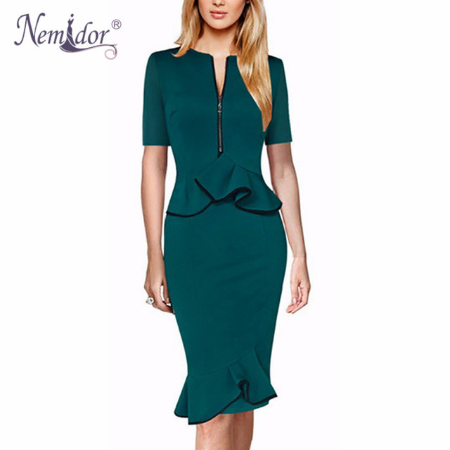 f1c9c23879c5 Nemidor 2018 Women Retro Plus Size Ruffles Short Sleeve Midi Dress Elegant  Solid Sheath Work Mermaid Dress