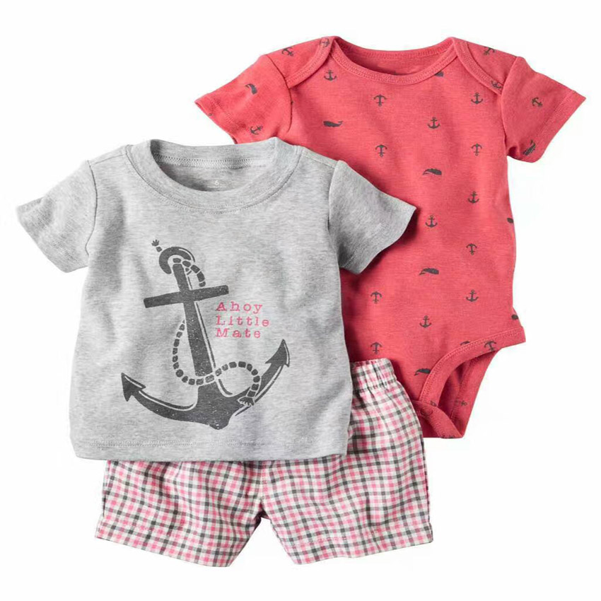 2016 New Summer style boys girls rompers suit 3pcs Baby Clothes set, Short sleeve and shorts cotton kid clothing