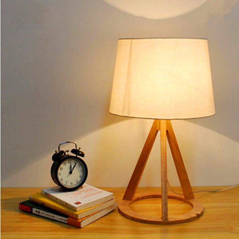 купить NEW Novel wooden Table Lamp 500mm Modern Industrial lamp wood&cloth table lamp for reading Style desk lighting E27 Bedside lamp по цене 6944.58 рублей