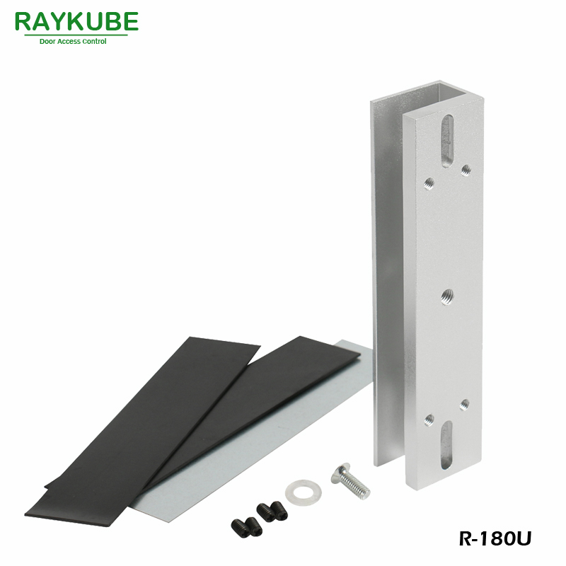 RAYKUBE U Bracket For 280kg Electric Magnetic Lock Install Glass Door R-280U x6 rfid door entry system 180kg magnetic lock and u bracket for glass door
