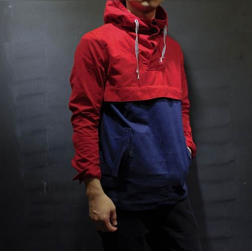 vintage pullover jacket slim men's clothing casual color block ...