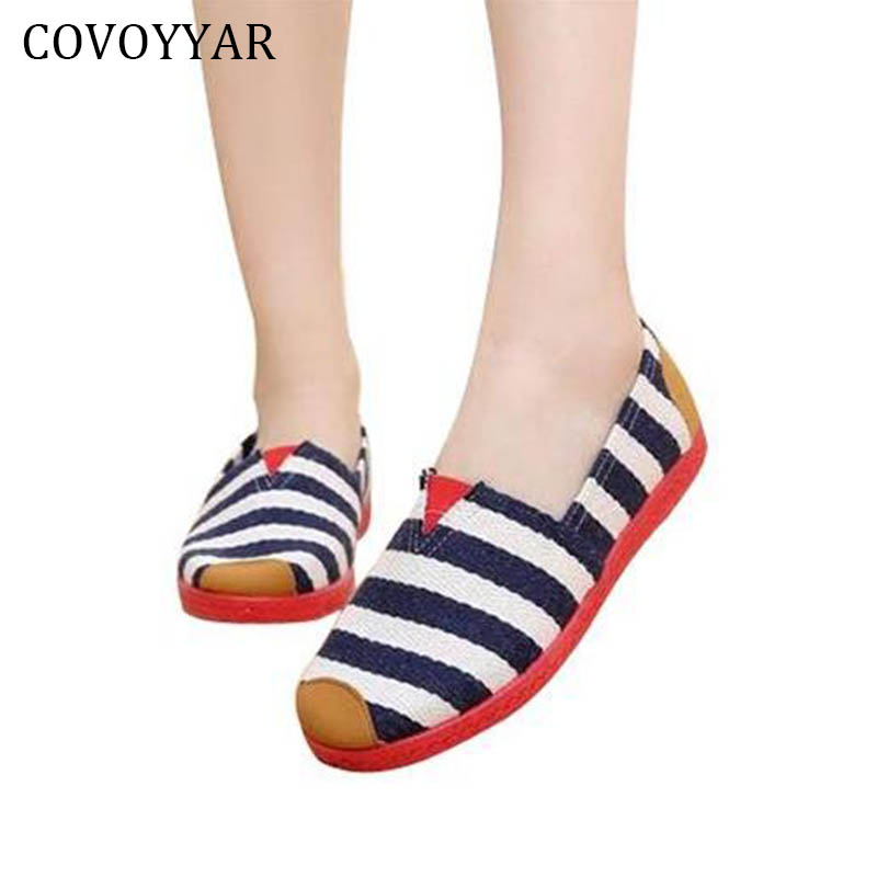 COVOYYAR Striped Canvas Shoes 2018 Spring Comfort Loafers Women Shoes Round Toe Casual Flats Slip On Plus Size 35~40 WFS503 casual flat shoes woman 2018 spring solid loafers slip on flats fashion round toe women shoes 3 colors size 35 40 f039