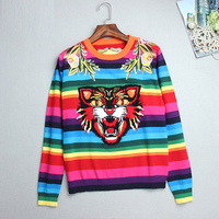 Runway Sweater Winter Women Sweaters Flower Embroidery Rainbow Striped Sweater Tiger Knitted Casual Pullover Jumper Pull Femme