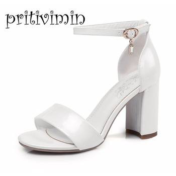 Pritivimin FN152 summer sandals laidies microfiber pointed toe t-strap  thick heels sandals 4 colors  fashion shoes big size