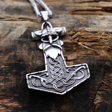 Viking Mens Thor Hammer Warrior Stainless Steel Pendant Necklace Nordic Mjolnir Jewelry