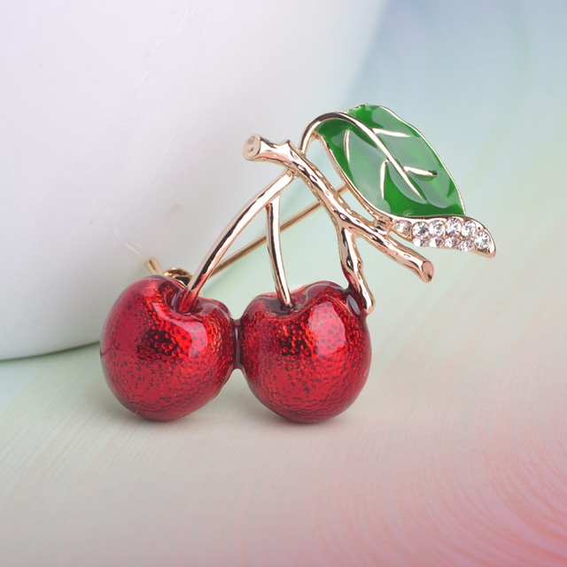 Red Enamel Brooch For Women