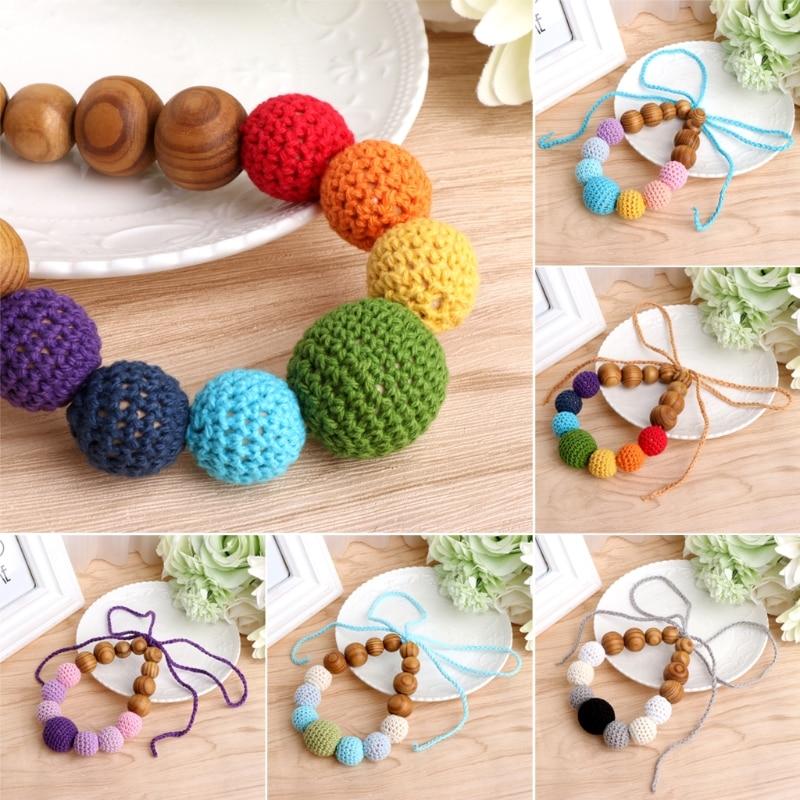 2017 Baby Wood Crochet Teething Nursing Breastfeeding Necklace Chew Chewable Jewelry Beads Gift NOV4_15 #A цена