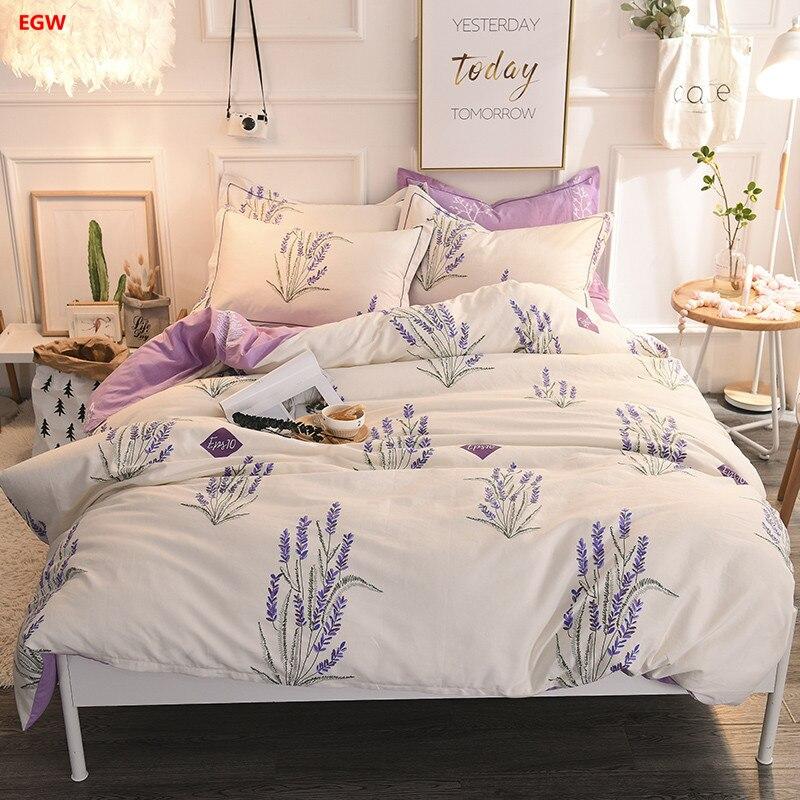 Home textile <font><b>lavender</b></font> bedding set dandelion duvet cover 100%cotton <font><b>bed</b></font> flat fitted sheet queen nordic bedding for Spring Summer