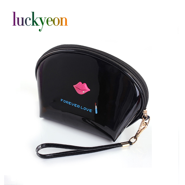 Shell Shaped Travel Makeup Bag PU Cosmetic Pouch Women Brand Zipper Pouch Bag Sex Lip Forever