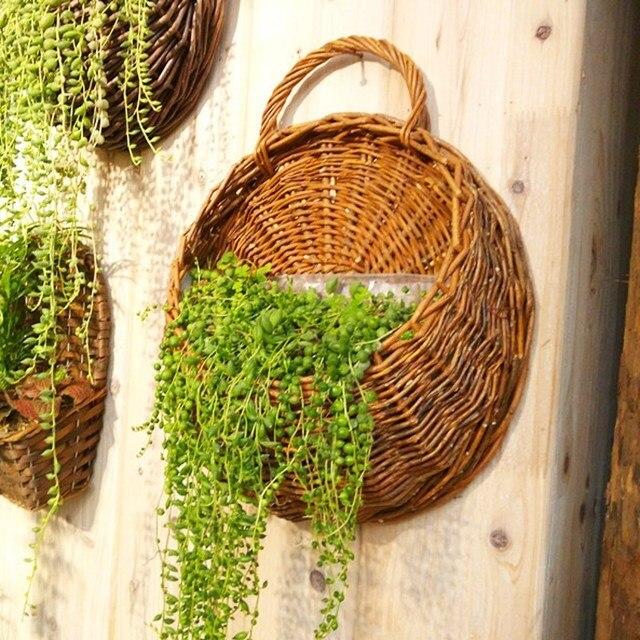 Wanddekoration Garten natürliche stroh hängevase ablagekorb blumenkorb rattan blumentopf