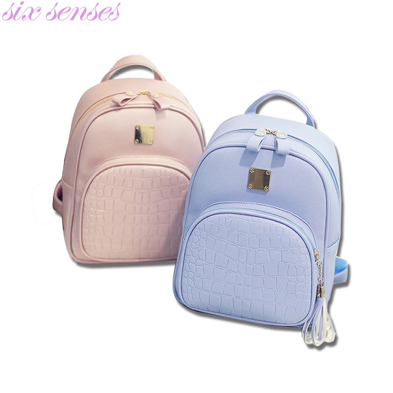 Prix pour Six sens Femmes sacs à dos PU sac à bandoulière En Cuir crocodile motif petit sac à dos sacs d'école Mochila voyage sac à dos XD3737