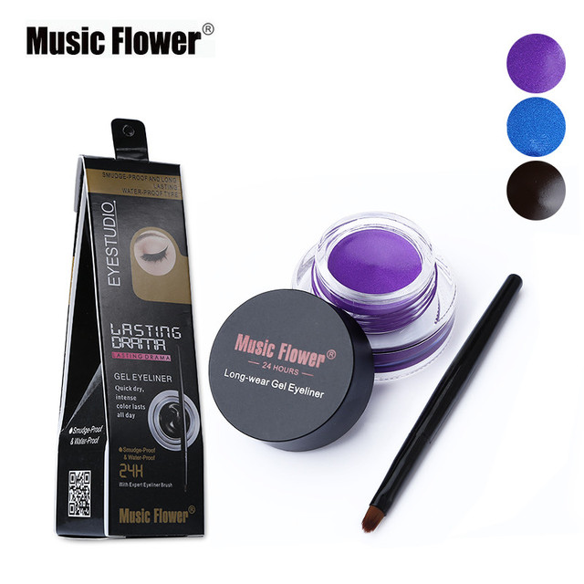 Music Flower Brown +Black 2 In 1 Eyeliner Gel Waterproof Make Up Thick Smooth Eye Liner Cream Long-lasting With 2 Makeup Brushes 5