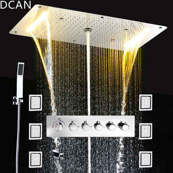 Embed Ceiling Rainfall Showers Set Massage Spray Led Electric Power Bathroom 5 Way Conceal Install Thermostatic Shower Faucets - DISCOUNT ITEM  49% OFF All Category