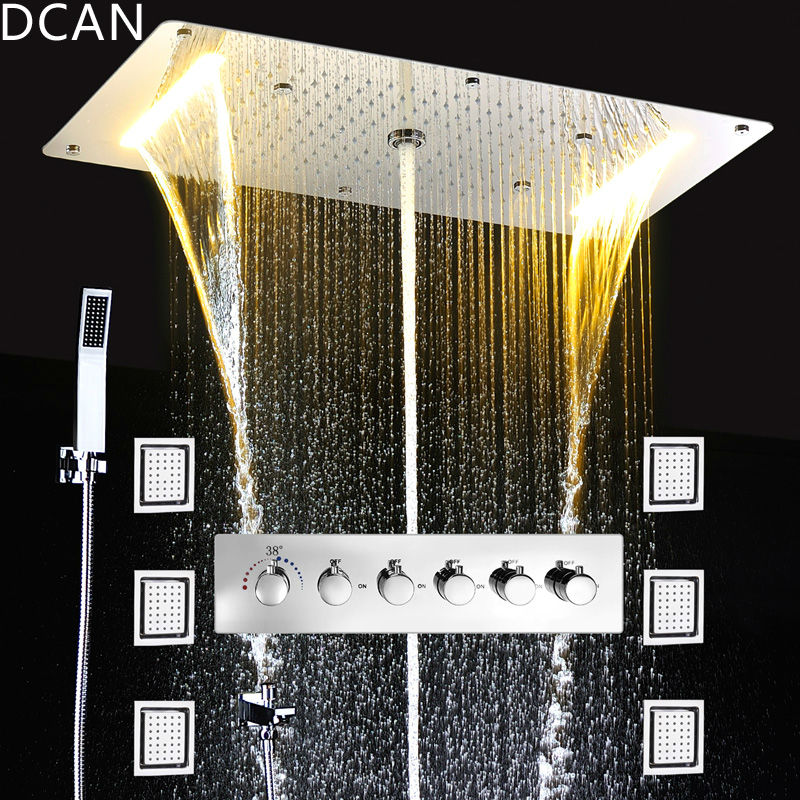 Embed Ceiling Rainfall Showers Set Massage Spray Led Electric Power Bathroom 5 Way Conceal Install Thermostatic Shower Faucets