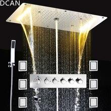 Osadzić sufitu opady deszczu prysznice zestaw masaż Spray Led energii elektrycznej łazienka 5 Way ukryć zainstalować prysznic termostatyczny baterie
