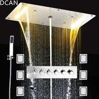 Precio Set de ducha de lluvia empotrada para techo, Spray de masaje Led de energía eléctrica para baño de 5 vías para ocultar la instalación de grifos de ducha termostáticos