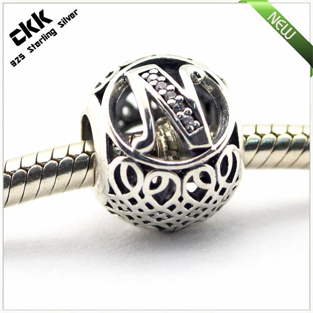 Serve pandora encantos pulseiras 100% jóias de prata esterlina 925 letra do vintage n contas com limpar cubic zirconia frete grátis