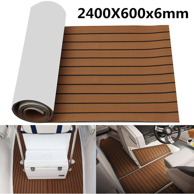 Self Adhesive 2400x600x6mm EVA Foam Marine Boat Yacht Flooring Faux Imitation Teak