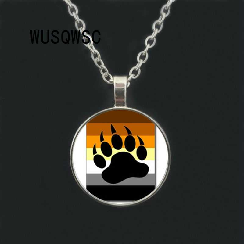 WUSQWSC Bear Pride Ying Yang with Paw Gay Pride Photo Charm pendant rainbow necklace & pendant Handmade glass dome gay jewelry